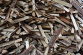 Cut laths a pile of lath and scrach of boards freshly lath outdoor Royalty Free Stock Photography