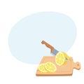 Cut lemon with a knife