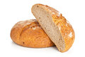 Cut loaf of bread on white Royalty Free Stock Photo