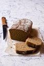 Cut loaf of rye bread