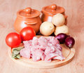 Cut meat and the vegetables Stock Images