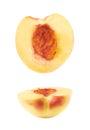 Cut open nectarine half isolated Royalty Free Stock Photo