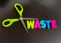 Cut out waste pair of green scissors and colorful text in colorful uppercase letters on a dark background making the concept Stock Photography