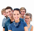 Cut out of young smiling friends standing in a row Stock Photo