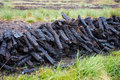 Cut Peat Stack Ireland Stock Photos