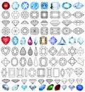 Cut precious gem stones set of forms illustration Stock Image