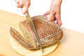 Cut rye bread on a cutting board Royalty Free Stock Images