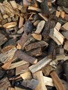 Cut and split pieces of firewood logs from a tree Royalty Free Stock Photo