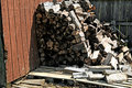 Cut and stacked firewood Royalty Free Stock Photo
