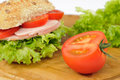 Cut Tomato With Salad Roll Stock Photo
