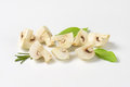 Cut white mushrooms into quarters Royalty Free Stock Photography