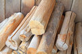 Cut wood in the forests seasoning firewood Stock Photo