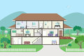 Cutaway Cross Section House - grouped and layered Royalty Free Stock Images