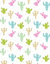 Cute Abstract Cactus Vector Pattern. Pink, Green, Beige and Blue Cactus with Black Spines.