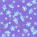 Cute abstract seamless pattern with small colorful flowers on the dark blue background. Summer floral vector Royalty Free Stock Photo