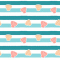 Cute abstract shells on blue stripes background seamless pattern illustration