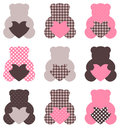 Cute abstract Teddy retro set Stock Photography