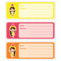 Cute address label vector cartoon illustration with cute colorful chick girls suitable for kid address label design
