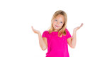 Cute adorable child girl with hands up in air saying i don t know or so what closeup portrait of isolated on white background Royalty Free Stock Photography