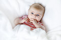 Cute adorable two months baby sucking fist. Royalty Free Stock Photo
