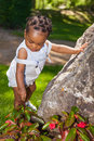 Cute african american baby boy at park Royalty Free Stock Image