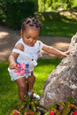 Cute african american baby boy at park Stock Photo