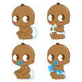 Cute african american baby boy vector set a illustration is drinking milk playing with his toy sitting and having a dirty Royalty Free Stock Photography