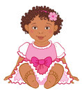 Cute African American baby girl in pink dress Happy princes Vector Royalty Free Stock Photo