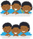 Cute African American cheerful boys relaxing and drinking Royalty Free Stock Photo