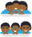 Cute aFrican American cheerful boys relaxing in the pool. Royalty Free Stock Photo