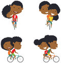 Cute African American couple on bikes