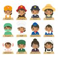Half Body African American Female Workers Vector Collection