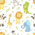Cute African Animals Childish Seamless Pattern, Giraffe, Lion, Elephant, Crocodile, Panda bear, Zebra, Design Element
