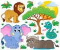 Cute african animals collection eps vector illustration Stock Image