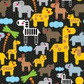 Cute african animals seamless pattern vector textured illustration Stock Photos