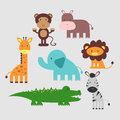 Cute African animals set Royalty Free Stock Photo