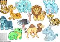 Cute african animals, set of vector illustrations Royalty Free Stock Photo