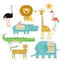 stock image of  Cute African animals. Vector set of children`s drawings. Traditional ornaments, ethnic and tribal motifs. Doodle style.