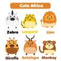 Cute african animals wildlife set. Children style, isolated design elements, vector illustration