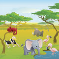 Cute African safari animal cartoon scene Royalty Free Stock Photos