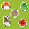 Cute african wild forest birds and animals. Stickers set. Vector illustration. Frog, fox, deer, owl, cardinal Royalty Free Stock Photo