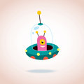 Cute alien character in spaceship Royalty Free Stock Photo