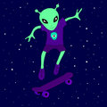 Cute alien creature teenager skating in space on a skateboard amongst the stars on a blue background.