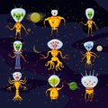 Cute Aliens In Space Suits, Spaceship Crew Cartoon Characters In space, vector, Royalty Free Stock Photo