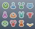 Cute aliens a wonderful set of stickers of different forms Stock Photo