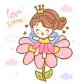 Cute angel cartoon, fairy princess vector on flower spring lover