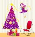 Cute angel and christmas tree Stock Image