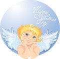 Cute angel in the round frame valentines day card design Stock Photography