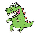 Cute angry cartoon dinosaur. Vector illustration.