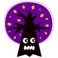 Cute angry halloween tree purple with face vector cartoon Royalty Free Stock Image